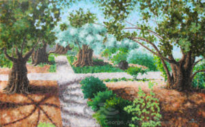 "Digital photo of acrylic painting entitled ""Garden of Gethsemane"" © 2016 (Linda) ""Eilee"" S. George, 30""h x 48""w, part of the Israel Series for Calvary Community Baptistt Church in Northglenn, CO; lovingly painted with squarish strokes in a Neo-Pixelist style in colors including ochre, cream, green, aqua, charcoal, taupe, sepia, blue, periwinkle, terra cotta, orange, yellow, mint green, gray, gold, brown and white, depicting the Garden of Gethsemane; includes the scripture: ""Father, if Thou be willing, remove this cup from Me; nevertheless, not My will but Thine, be done."" - Luke 22:42 signed L. Eilee George with logo"