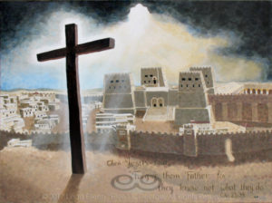 "Digital photo of acrylic painting entitled ""Calvary"" © 2017 (Linda) ""Eilee"" S. George, 36""h x 48""w, part of the Israel Series for Calvary Community Baptistt Church in Northglenn, CO; lovingly painted with squarish strokes in a Neo-Pixelist style in colors including ochre, cream, mauve, plum, charcoal, taupe, sepia, gold, brown, beige, blue, yellow and white, depicting the Cross aglow in light bursting from dramatic clouds over the Antonia Fortress adjacent to the Temple of Jerusalem in the Second Temple Period; includes the scripture: ""Then Jesus said, ""Forgive them, Father, for they know not what they do."" - Luke 23:34 signed L. Eilee George with logo"