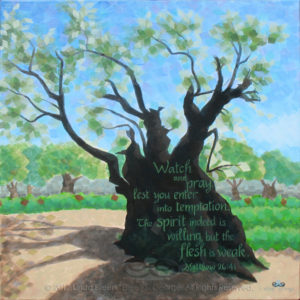 "Digital photo of acrylic painting entitled ""Ancient Tree, Gethsemane"" © 2017 (Linda) ""Eilee"" S. George, 24""w x 24""h, part of the Israel Series for Calvary Community Baptistt Church in Northglenn, CO; lovingly painted with squarish strokes in a Neo-Pixelist style in colors including ochre, cream, greens, blues, charcoal, taupe, sepia, gold, brown and white, depicting a tree in the Garden of Gethsemane rumored to be old enough to have been there during the life of Christ; includes the scripture: ""Watch and pray, lest you enter into temptation. The spirit indeed is willing, but the flesh is weak."" - Matthew 26:41 signed L. Eilee George with logo"