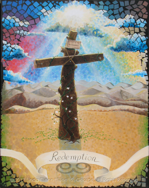 "Digital photo of acrylic painting entitled ""Redemption: The Tree of the Cross"" © 2017 (Linda) ""Eilee"" S. George, 48""w x 60""h, part of the ""3 Trees"" Triptych within the Israel Series for Calvary Community Baptist Church in Northglenn, CO; lovingly painted with squarish strokes in a Neo-Pixelist style in colors including ochre, cream, mauve, plum, red, salmon, yellow, purple, blue, olive, charcoal, black, green, lime, violet, fuschia, indigo, sepia, gold, brown, beige and white, depicting the Tree of the Cross Calvary/Golgotha against a background of distant Jericho's barren mountains and dunes, a symbolic blooming dogwood sapling and life-affirming vines growing at the base of its trunk and a dramatic burst of sun rays from darkened clouds with the light of hope sent by God; signed L. Eilee George with logo"